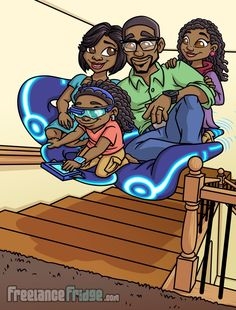 Childrens Book African American family illustrations pages 15 and 16