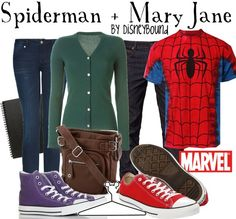 Hallowen Costume Couples Spiderman shirt for Universal. Obviously would need a feminine touch Disney Bound Outfits, Disney Inspired Outfits, Couple Outfits, Disney Style, Themed Outfits, Disney Bound Couples, Kid Outfits, Night Outfits, Modest Outfits