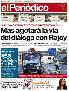 """""""Mas agotará la vía del diálogo con Rajoy"""", en la portada de EL PERIÓDICO DE CATALUNYA"""