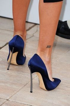 Navy blue Casadei...wow...those heels look lethal!