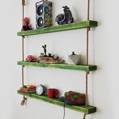 Massive Handmade Green Shelves with Rope Green Shelves, Wood Shelves, Custom Jewelry Design, Custom Design, All Wall, Natural Wood, Home Accessories, House Design, Handmade