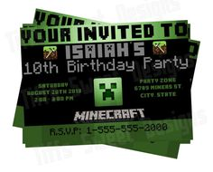 Minecraft Birthday Invitation  DIY  Printable by TiffsSweetDesigns, $8.00