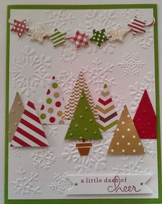 handmade xmas card using snowflake curtain embossing folder - Google Search