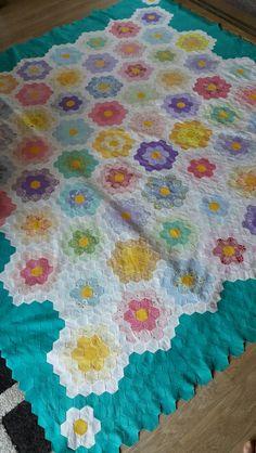 Grandma's flower garden  quilt top