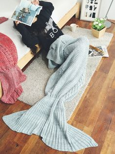 7 Colors Fishtail Blanket Wool Knitted Throw Wave Mermaid Blanket Bed Sofa Blankets Home Textile Supplies Lovely Luster Home & Garden Throw