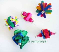 Foots toys are essential for parrots. Different shapes and size help with motor development, coordination, and balance. Remember a happy bird starts with HAPPY FEET!! There are a few different types o