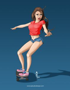 Another Skater girl By: Alex Tercero SketchbookPro 2017 Skater Girls, My Escape, Disney Characters, Fictional Characters, Disney Princess, Artwork, Work Of Art, Disney Princes, Disney Princesses