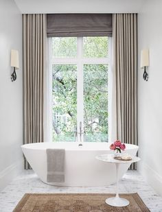 window coverings for large windows Bathroom Window Coverings, Bathroom Window Curtains, Bathroom Windows, Curtains With Blinds, Grey Curtains, Shower Curtains, Mini Blinds, Velvet Curtains, Wood Blinds