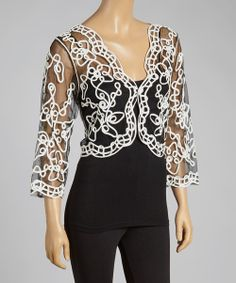 Take a look at the Black & White Sheer Embroidered Shrug on #zulily today!