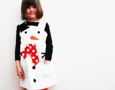 Snowman Girls Dress by wildthingsdresses on Etsy, £42.00