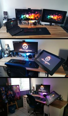73 Most Popular Video Game Room Furniture Decor 50 Video Game Room Ideas to Maximize Your Gaming Experience Setup Desk, Computer Desk Setup, Office Setup, Pc Setup, Gaming Computer, Gaming Desktop, Office Workspace, Best Gaming Setup, Gaming Room Setup