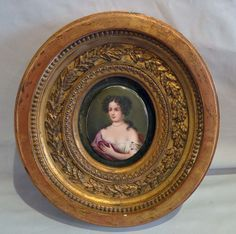 Porcelain Hand Painted Portrait Oval Plaques In Oval Giltwood Frame  -  France   c.1890