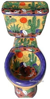 Mexican Talavera Toilet set Mexican bathroom sets consisting of hand painted sink, talavera toilet, mexican toilet seat and ceramic accessories. Mexican Folk Art, Mexican Style, Toilet Art, Talavera Pottery, Unusual Things, Oeuvre D'art, Decoration, Painted Furniture, Duravit