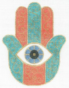 "Spiritual needlepoint - coral and turquoise hamsa symbol of protection, hand-painted, 6"" x 8"" on 13 mesh canvas, made in Sedona Arizona"