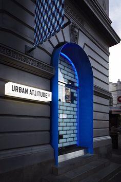 Urban Attitude - blue modern doorway update to classic building. Signage Design, Facade Design, Door Design, Exterior Design, Architecture Design, Design Shop, Shop Front Design, Retail Facade, Retail Signage