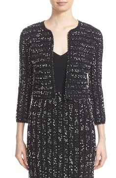 LELA ROSE Speckled Knit Tweed Crop Jacket. #lelarose #cloth #