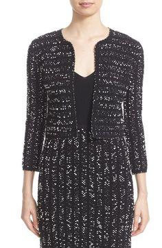 LELA ROSE Speckled Knit Tweed Crop Jacket. #lelarose #cloth #