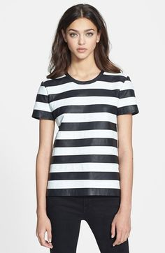 Theory 'Nicaid Magazine' Stripe Leather Tee | Nordstrom