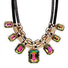 Rope Collar Gold Plated Crystal Bling Necklace - 6 Colors Available Trendy Necklaces, Women's Necklaces, Wholesale Jewelry, Fashion Necklace, 18k Gold, Women Jewelry, Bling, Pendants, Pendant Necklace