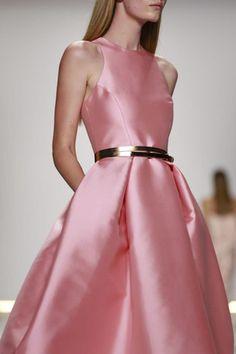 Rose Silk Mikado Structured Dress by Monique Lhuillier for Preorder on Moda Operandi, New York Fashion Week