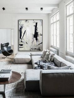 Large Abstract Painting On Canvas Black White Wall Art Painting Acrylic Canvas Abstract Canvas Art Original Dine Room Wall Art Office Decor Grande peinture abstraite sur toile mur blanc noir Art Black And White Wall Art, Black White, Black Art, Minimalist Painting, Abstract Canvas Art, Acrylic Canvas, Office Wall Art, Office Decor, Home Decor Paintings