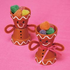 Terra Cotta Pot Christmas Crafts | Gingerbread Candy Cups | FaveCrafts.com