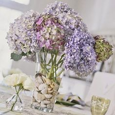 Use a shell collection to anchor a vase of hydrangea. If you don't have shells on hand, try using other pretty little objects, such as glass beads or buttons.