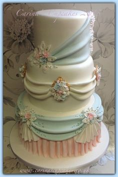deep stacked 3 tier swag and tail wedding cake, created with free design reign for my latest blushing bride - -- Carina's Cupcakes, Bedfordshire, ↓ http:/www.facebook.com/carinascupcakes