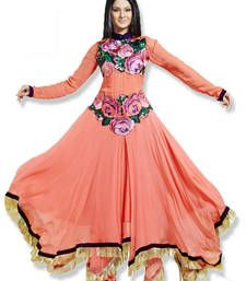 Buy Peach Colour Faux Georgette Anarkali Salwar Kameez By Fabfiza anarkali-salwar-kameez online