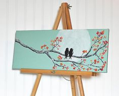 8x20 Original Painting Love Birds Painting Mint and Coral Wedding Gift for Couple Art Love Bird Painting Love Painting Anniversary Gift by