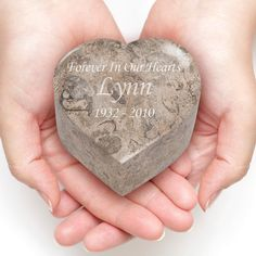 Gray Fossil Heart Stone Keepsake Cremation Urn - Engravable