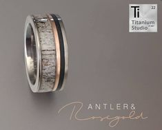 Titanium base ring with deer antler, rose gold and Teflon inlay. Finished with a clear resin coating.