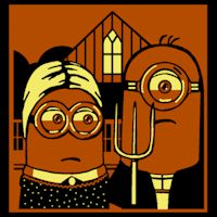 American Gothic Minions - Stoneykins Pumpkin Carving Patterns and Stencils