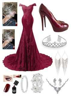 """Wine Red Ballgown"" by pinkstars6 ❤ liked on Polyvore featuring Christian Louboutin, Crystal Allure, Jules Smith, Bling Jewelry, M&Co, Michael Kors, red, formal and reddress"