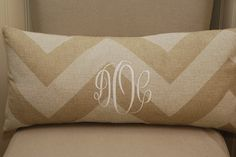 Monogrammed Neutral Chevron Print Throw Pillow. $40.00, via Etsy.