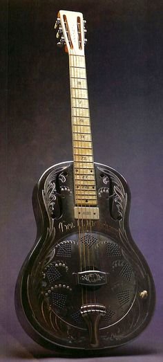 1932 National. INTRIGUING guitars MUSIC  history RESEARCH #DdO:) - https://www.pinterest.com/DianaDeeOsborne/instruments-for-joy/ - INSTRUMENTS. John Dopyera- inventor of resonator guitar- stormed out of National shop in 1929 after months working with brother Rudy on secret project: Single cone guitar believed superior to National Triolian. Called their new instrument DOBRO (Dopyera Brothers). 1932 intro'd  single- screenhole guitars. 2 months later merged National- Dobro moved into new…