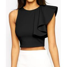 Fashion Summer Ruffle Crop Top Sexy Women Cropped Tank Top Feminine Back Zipper Sleeveless Bustier Crop Tops Black Look Fashion, Fashion Outfits, Womens Fashion, Fashion Design, Fashion Trends, Fashion Site, Fashion Black, Fashion Online, Crop Tank