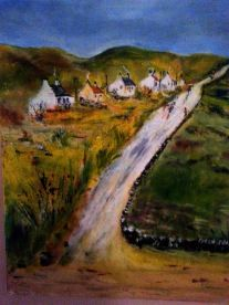 Cottages on a Hill Scotland - Painted by Isabel Macleod