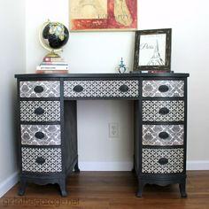 Vintage decoupage desk makeover - Girl in the Garage