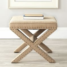 Safavieh Palmer X-bench Nailhead Beige Ottoman | Overstock.com Shopping - Great Deals on Safavieh Ottomans