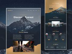Mount Everest Landing Page Designed Page Layout Design, Website Design Layout, Web Design Tips, Landing Page Design, Web Layout, Design Websites, Flat Design, Design Design, Interior Design Website