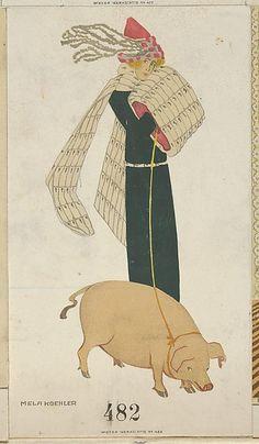 New Year's Card, Artist: Mela Koehler (Austrian, Vienna 1885–1960 Stockholm) Publisher: Wiener Werkstätte Date: 1911