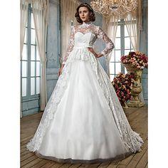 una línea princesa cuello alto tribunal tren y encaje vestido de tul de bodas – CLP $ 189.801
