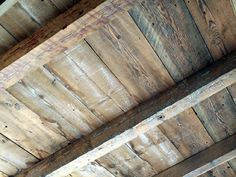Open beam ceiling by Vintage Timberworks Porch Ceiling, Plank Ceiling, Ceiling Beams, Exposed Ceilings, Exposed Beams, Wood Ceilings, Wood Beams, Wood Planks, Anthropologie Home