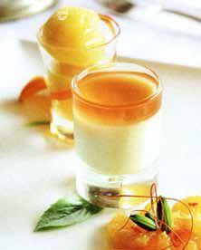 Mandarin Sorbet- delicious served with a vanilla pannacotta Sorbet, Panna Cotta, Mosaic, Vanilla, Good Food, Tasty, Ethnic Recipes, Dulce De Leche, Mosaics