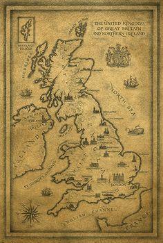 Map of United Kingdom by Yaroslav Gerzhedovich