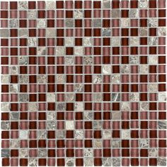Elida Ceramica�Cherry Stone Glass Mosaic Square Indoor/Outdoor Wall Tile (Common: 12-in x 12-in; Actual: 11.75-in x 11.75-in)