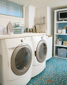 put super bright floor in basement laundry room--can we mimic this with painted concrete? paint insides of cheap bookshelves for open storage? Love the color scheme for laundry room Laundry Room Shelves, Laundry Room Design, Laundry Rooms, Small Laundry, Laundry Area, Mud Rooms, Laundry Cabinets, Laundry Decor, Laundry Tips