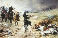 Painting by Julian Russel Story of the Black Prince at the battle of Crecy. At his feet lies the body of the dead King John of Bohemia.  https://cs.m.wikipedia.org/wiki/Soubor:The_Black_Prince_of_Crecy.jpg