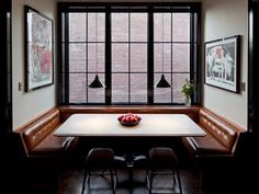 I just love this cozy nook, roomy and great mix of light and dark finishes. Soho breakfast nook,by  Own entity. | Remodelista Architect / Designer Directory